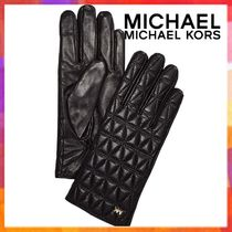 Michael Kors Plain Leather Leather & Faux Leather Gloves