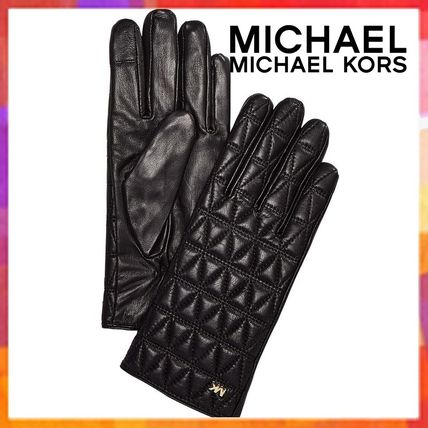 Michael Kors Leather & Faux Leather Plain Leather Leather & Faux Leather Gloves