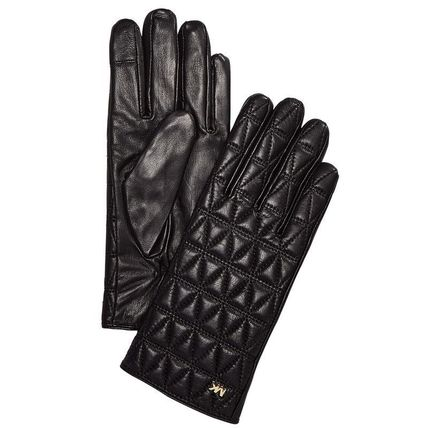 Michael Kors Leather & Faux Leather Plain Leather Leather & Faux Leather Gloves 2