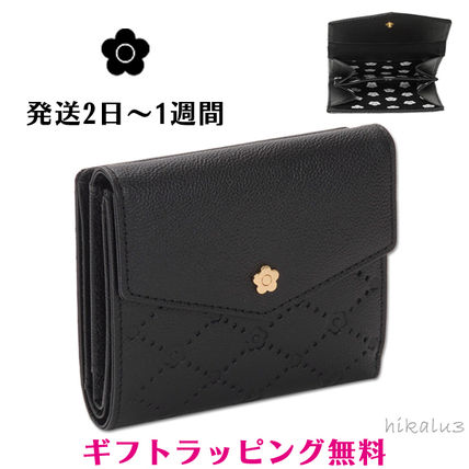 Flower Patterns Plain Leather With Jewels Folding Wallets