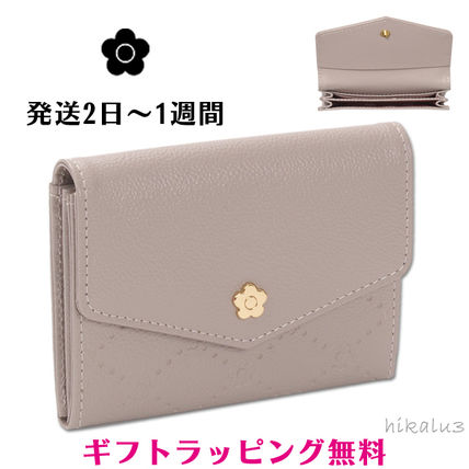 Flower Patterns Plain Leather With Jewels Card Holders