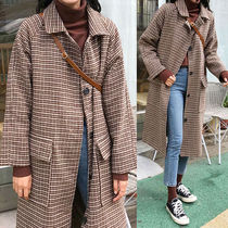 Stand Collar Coats Other Check Patterns Casual Style Wool