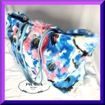 PRADA Flower Patterns A4 Leather Handmade Elegant Style Totes