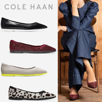 Cole Haan ZEROGRAND Round Toe Rubber Sole Casual Style Plain Leather Flats