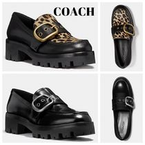 Coach Platform Casual Style Plain Leather Loafer Pumps & Mules