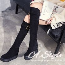 Wedge Round Toe Casual Style Suede Plain Over-the-Knee Boots