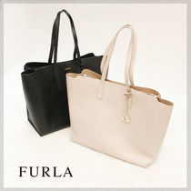 FURLA SALLY Casual Style A4 Plain Leather Totes