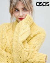 ASOS Cable Knit Casual Style Rib Long Sleeves Plain High-Neck