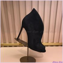 Gianvito Rossi Open Toe Suede Plain Pin Heels Elegant Style High Heel Boots