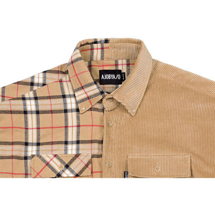 AJO AJOBYAJO Shirts Other Check Patterns Unisex Corduroy Street Style 3