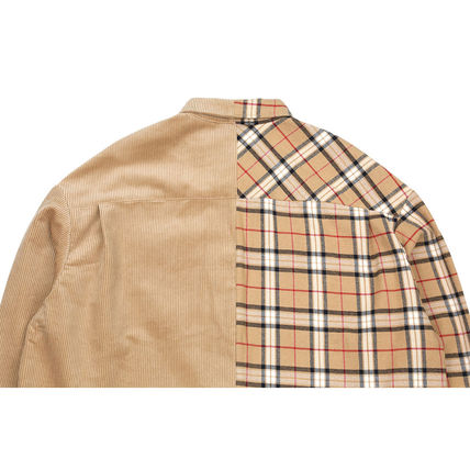 AJO AJOBYAJO Shirts Other Check Patterns Unisex Corduroy Street Style 4