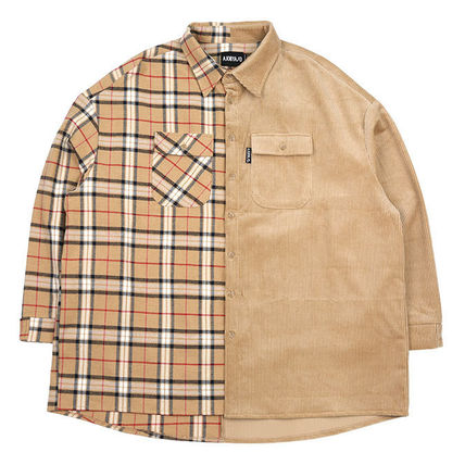 AJO AJOBYAJO Shirts Other Check Patterns Unisex Corduroy Street Style 5