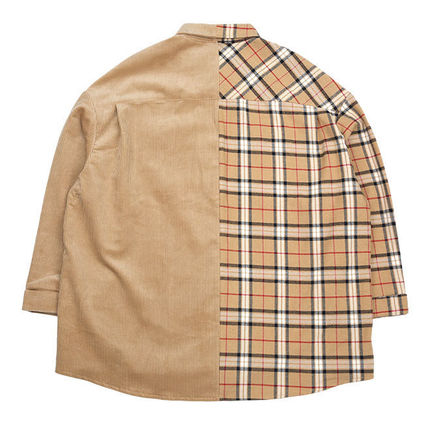 AJO AJOBYAJO Shirts Other Check Patterns Unisex Corduroy Street Style 6