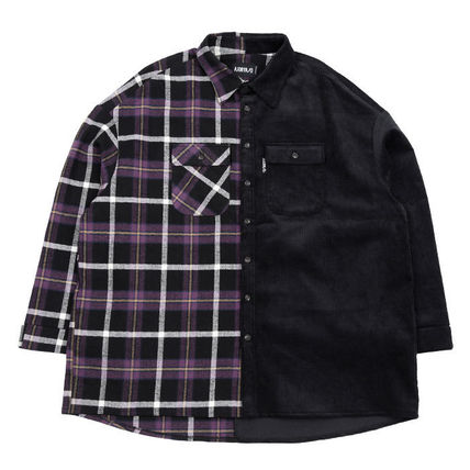 AJO AJOBYAJO Shirts Other Check Patterns Unisex Corduroy Street Style 11