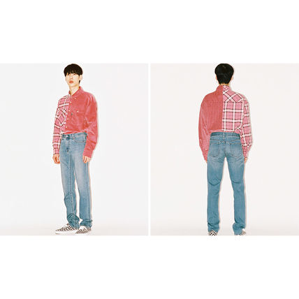 AJO AJOBYAJO Shirts Other Check Patterns Unisex Corduroy Street Style 12