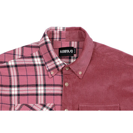 AJO AJOBYAJO Shirts Other Check Patterns Unisex Corduroy Street Style 13