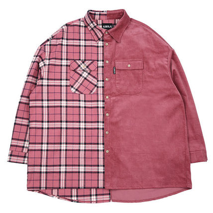 AJO AJOBYAJO Shirts Other Check Patterns Unisex Corduroy Street Style 18