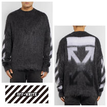 Off-White Crew Neck Pullovers Stripes Wool Long Sleeves Plain