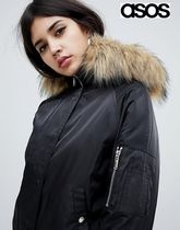 ASOS Short Casual Style Faux Fur Blended Fabrics Street Style
