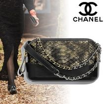 CHANEL 2WAY Chain Leather Python Elegant Style Clutches