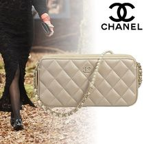 CHANEL Lambskin 2WAY Chain Plain Elegant Style Clutches