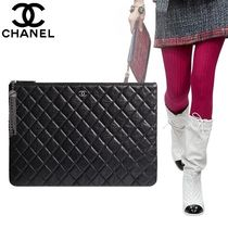 CHANEL Calfskin Tassel Bag in Bag 2WAY Plain Elegant Style Clutches