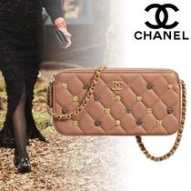 CHANEL Lambskin Studded 2WAY Chain Plain Elegant Style Clutches