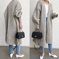 Casual Style Wool Rib Street Style Long Sleeves Plain Long