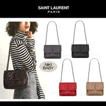 Saint Laurent Niki Calfskin 2WAY Chain Elegant Style Shoulder Bags
