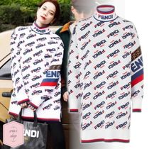 FENDI Cable Knit Casual Style Street Style Long Sleeves Cotton