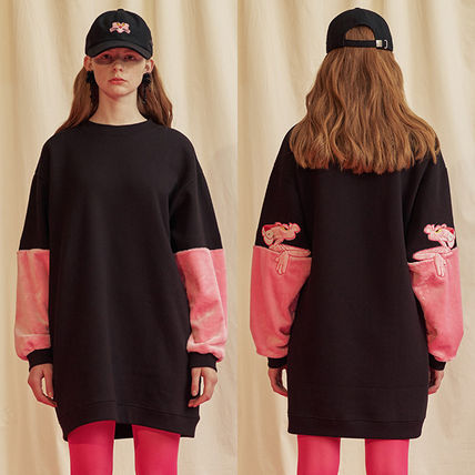 Crew Neck Casual Style A-line Collaboration Long Sleeves