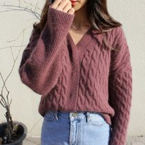 Cable Knit Wool Street Style V-Neck Long Sleeves Plain