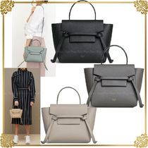 CELINE Belt Plain Leather Elegant Style Shoulder Bags