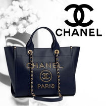 CHANEL Casual Style Calfskin Blended Fabrics Studded A4 2WAY