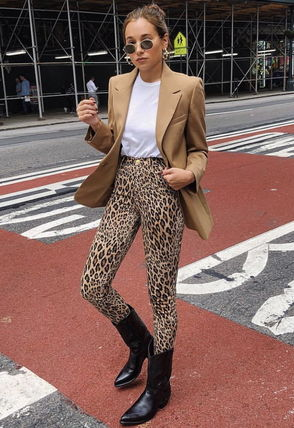 Printed Pants Leopard Patterns Medium Office Style Pants
