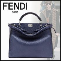 FENDI PEEKABOO FENDI MINI PEEKABOO FIT BLUE LEATHER BAG*BAG BUGS EYES