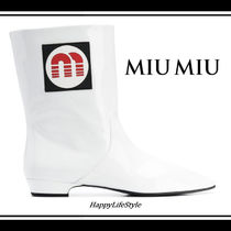 MiuMiu Rubber Sole Casual Style Plain Leather Ankle & Booties Boots