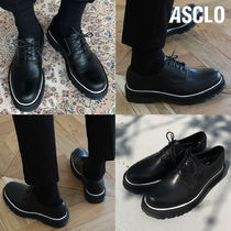 ASCLO Plain Toe Unisex Street Style Plain Leather Handmade Oxfords