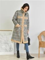 Glen Patterns Casual Style Long Fur Leather Jackets Coats