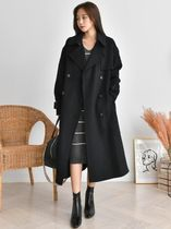 Wool Plain Long Handmade Office Style Wrap Coats