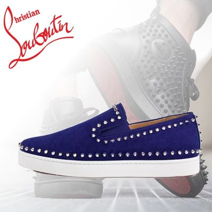 ab8c7522fc47 Christian Louboutin Loafers   Slip-ons Plain Toe Suede Studded Plain Loafers  ...
