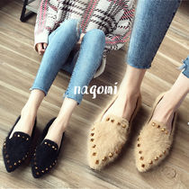 Rubber Sole Casual Style Faux Fur Studded Plain