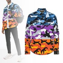 VALENTINO Button-down Camouflage Unisex Long Sleeves Cotton Shirts