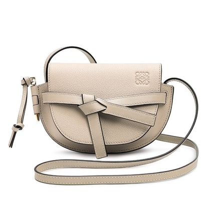 LOEWE GATE Crossbody Casual Style Calfskin Plain Leather Elegant Style