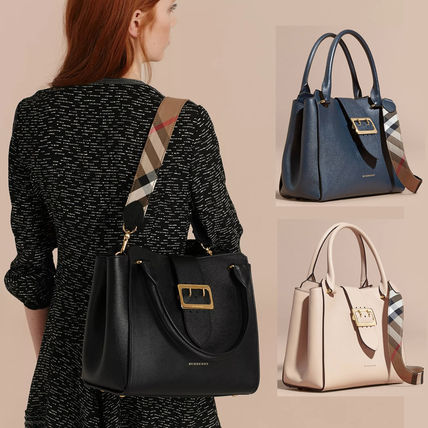 Calfskin Plain Office Style Totes