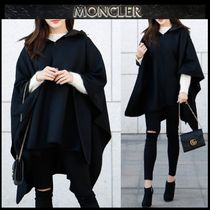 MONCLER Wool Blended Fabrics Street Style Plain Long Ponchos & Capes