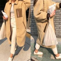 Casual Style Unisex Faux Fur Bi-color Plain Long