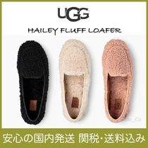 UGG Australia HAILEY FLUFF LOAFER Moccasin Round Toe Rubber Sole Casual Style Sheepskin Plain