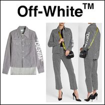 Off-White Stripes Casual Style Long Sleeves Cotton Long