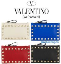 VALENTINO Unisex Studded Leather Coin Purses